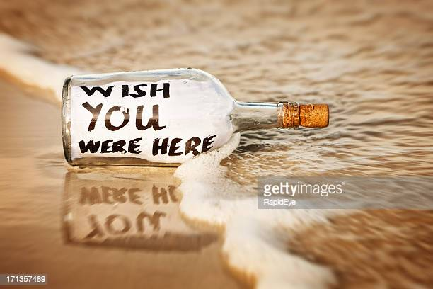 Lonely message in bottle reads: Wish you were here!
