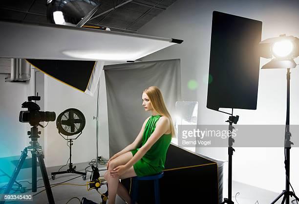 Lonely model in photostudio