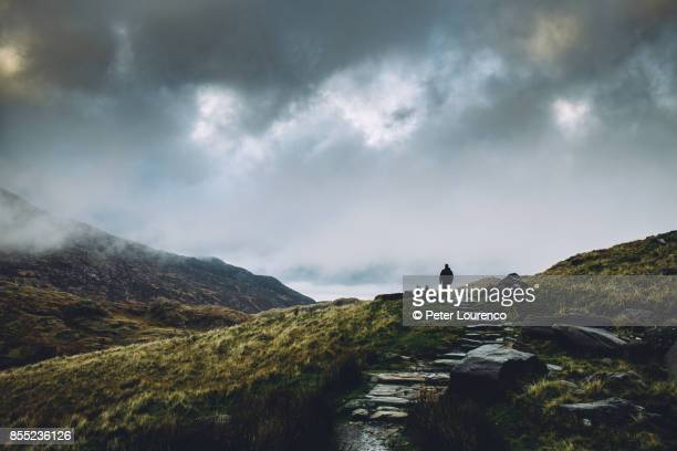 a lonely path - wales stockfoto's en -beelden