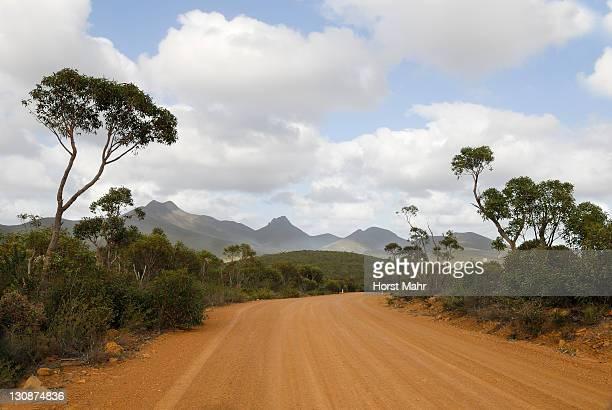 Lonely road going through Stirling Range, Stirling Range National Park, Western Australia, Australia