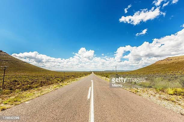 lonely road through nature south africa - mid section stock pictures, royalty-free photos & images