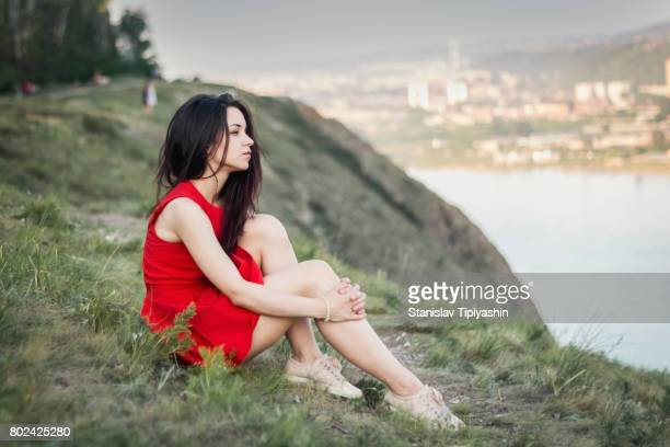 lonely sad girl - sundress stock pictures, royalty-free photos & images