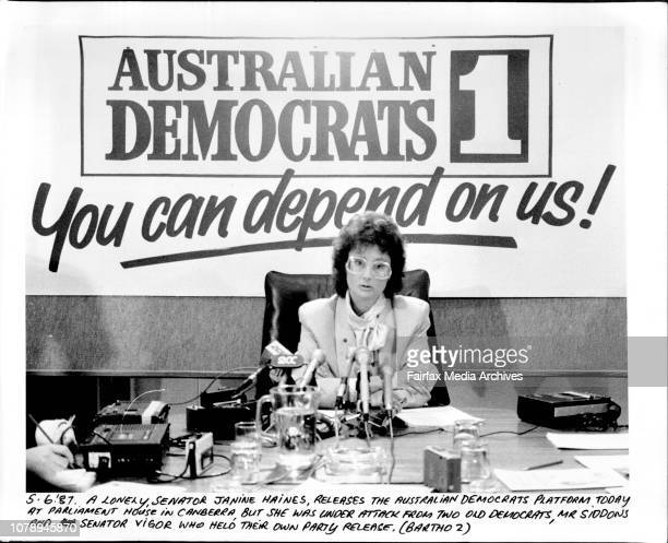 A Lonely Senator Janine Haines releases the Australian Democrats Platform today at Parliament House in Canberra but she was under attack from two old...