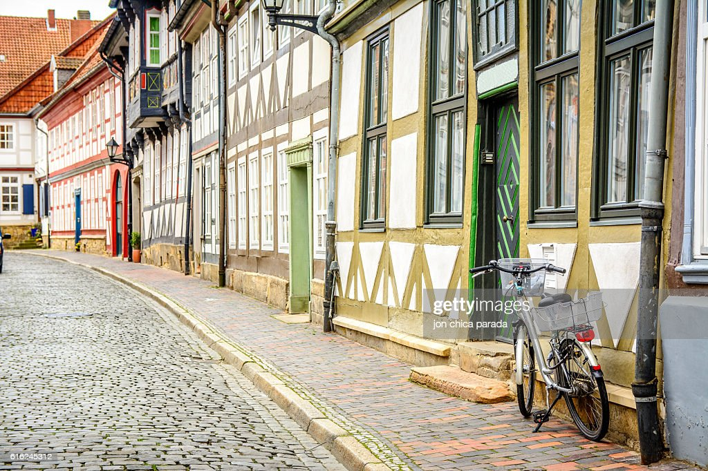 lonely street at goslar, germany : Stock Photo