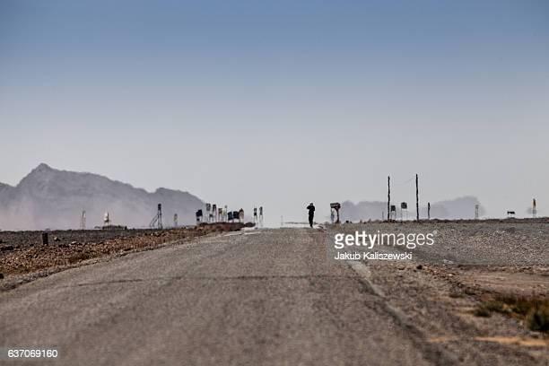Lonely street in the desert
