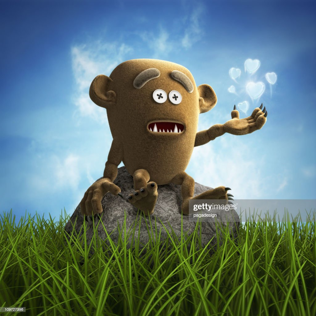 lonely teddy monster : Stock Photo