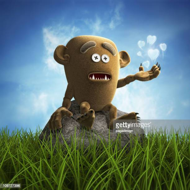 lonely teddy monster - monster fictional character stock pictures, royalty-free photos & images