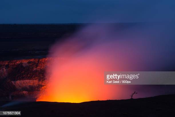 lonely tree - active volcano stock pictures, royalty-free photos & images