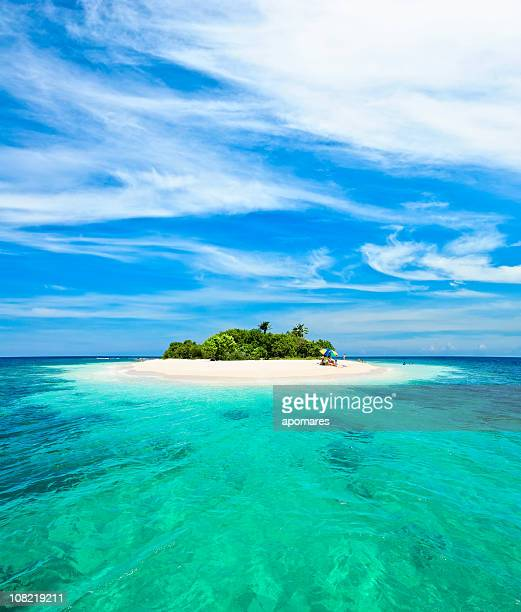 lonely tropical island in the caribbean - idyllic stock pictures, royalty-free photos & images