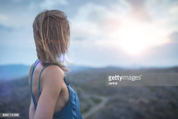 Lonely woman outdoors
