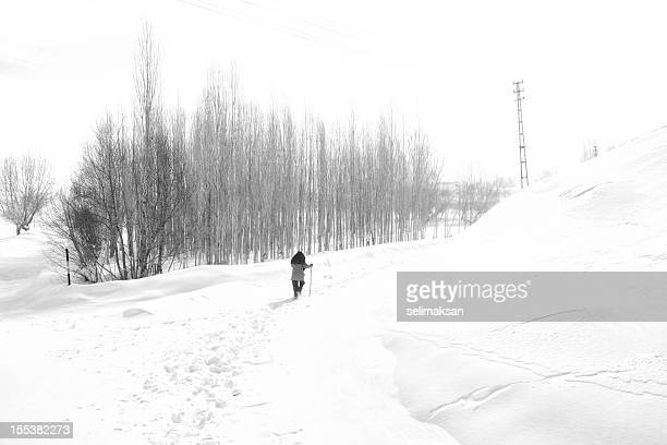 Lonely woman walking in misty snow