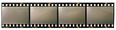 long 35mm film or movie strip with 4 empty frames or cells on white background, just blend in your photos to make them look vintage