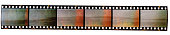 long 35mm film strip with empty film cells isolated on white background