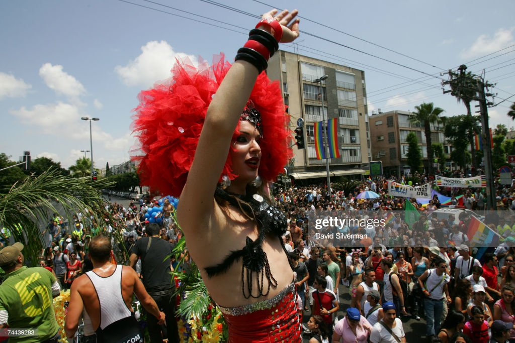 K. Long, a transsexual dancer entertains the crowd from a float during the annual Gay Pride rally, on June 8, 2007 Tel Aviv, Israel's most cosmopolitan city. Thousands of alternative lifestyle Israelis took advantage of the mild summer weather to celebrate sexual freedom amidst calls from Jewish, Muslim and Christian religious leaders to ban a similar rally in Jerusalem later this month.
