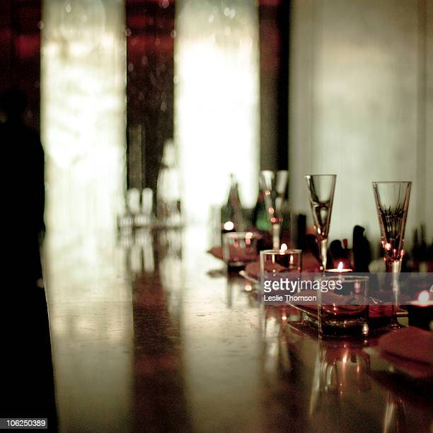 Long bar with champagne flutes