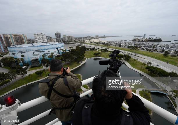 Long Beach Arena and entertainment center is shown to the media during a media tour as a possible venue for Los Angeles 2024 Summer Olympics as the...