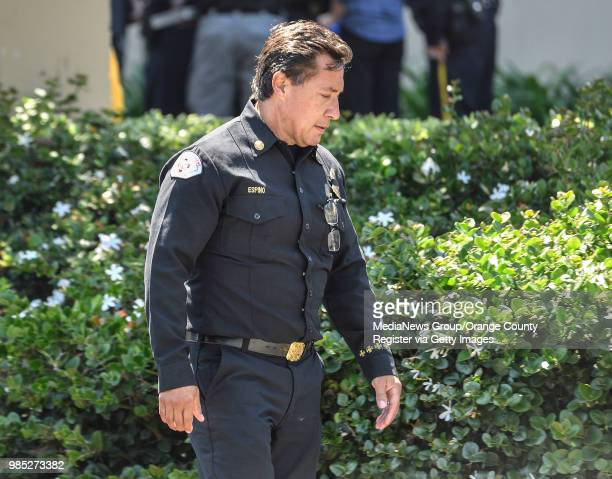 Long Beach Assistant Fire Chief Xavier Espino outside St Mary Medical Center after Long Beach Fire Department Capt Dave Rosa was shot and killed...