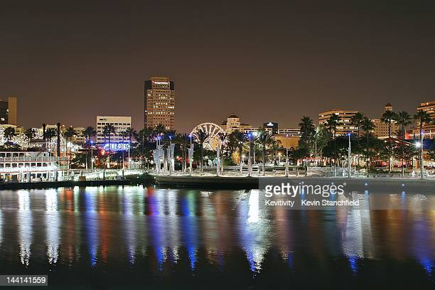 long beach at night. - long beach california stock photos and pictures