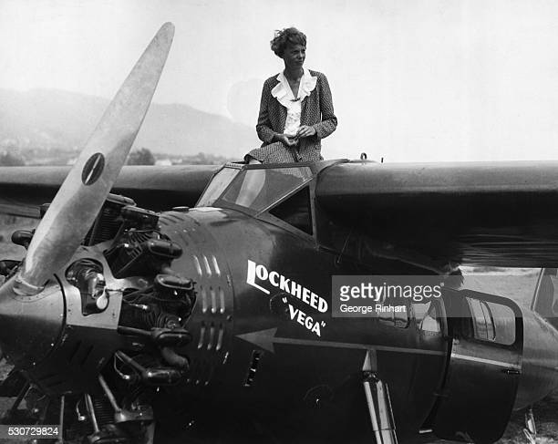 Famed feminine flier Amelia Earhart prepares for National Women's Air Derby at Long Beach Miss Amelia Earhart prominent entrant in the National...