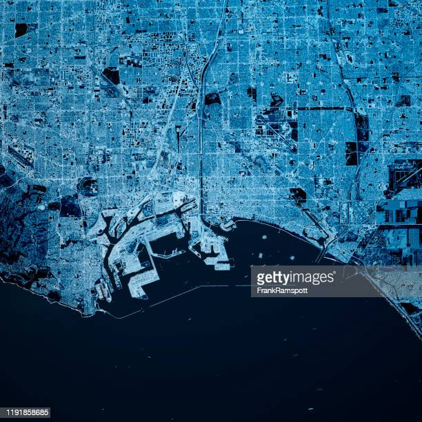 long beach california 3d render kaart blauw top view mar 2019 - frankramspott stockfoto's en -beelden