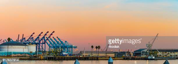 long beach container terminal - long beach california stock photos and pictures