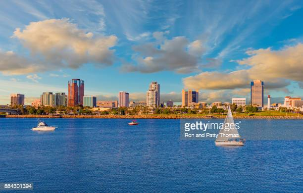 long beach harbor with skyline and cloudscape, ca (p) - long beach california stock photos and pictures