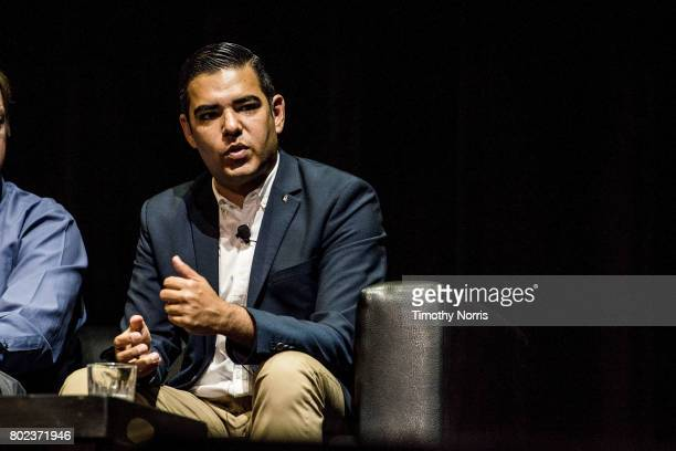 Long Beach mayor Robert Garcia speaks during Climate Day LA at The Theatre at Ace Hotel on June 27 2017 in Los Angeles California