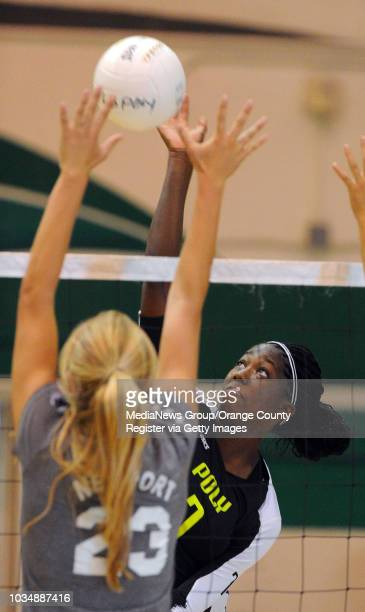 Long Beach Poly girls volleyball defeated Newport Harbor 32 at Poly High in Long Beach CA on Thursday September 5 2013 Poly's Erin Williams tries to...