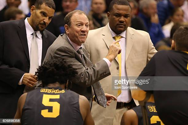 Long Beach State 49ers head coach Dan Monson during a timeout in an NCAA basketball game between the Long Beach State 49ers and the Kansas Jayhawks...