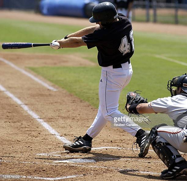 Long Beach State Dirtbags left fielder Shane Peterson at the plate as they defeated the visiting University of Pacific Tigers 9 to 3 on April 30,...