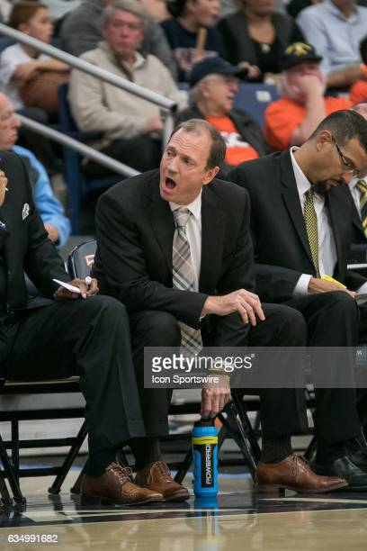 Long Beach State Head Coach Dan Monson instructs his bench during a game between Long Beach State and Cal State Fullerton on February 11 2017 at...