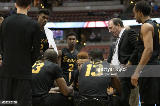 Long Beach State Head Coach Dan Monson instructs his team during a Big West Conference Semifinals Game between UC Irvine and Long Beach State on...