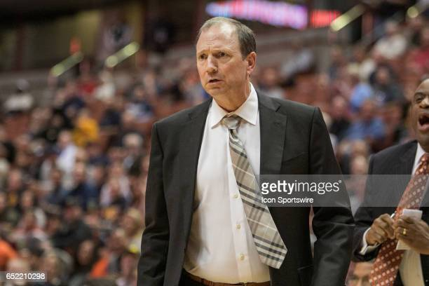 Long Beach State Head Coach Dan Monson look on in disgust during a Big West Conference Semifinals Game between UC Irvine and Long Beach State on...