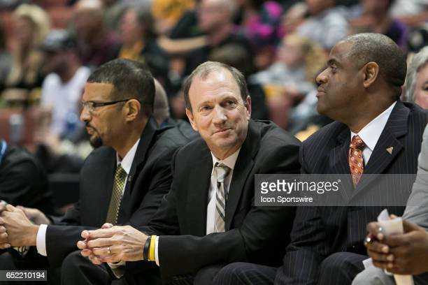 Long Beach State Head Coach Dan Monson looks on during a Big West Conference Semifinals Game between UC Irvine and Long Beach State on March 10 2017...