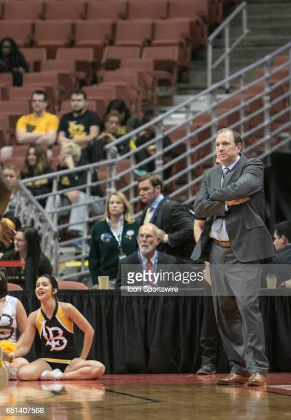 Long Beach State Head Coach Dan Monson looks on in frustration during a Big West Conference Quarterfinals game between Long Beach State and Hawaii on...