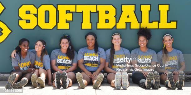 Long Beach State senior softball players from left Erin JonesWesley Cya Neal Hannah De Gaetano Ashlynn Booker Loni Tyler Karli Sandoval and Sarah...