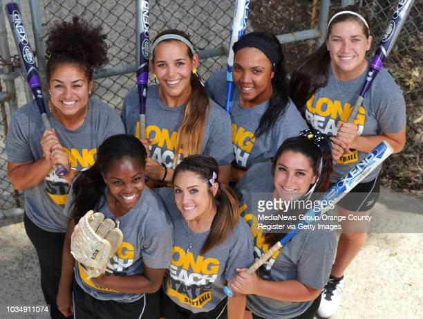 Long Beach State senior softball players in Long Beach CA on Thursday May 1 2014 Clockwise from upper left Karli Sandoval Sarah Carrasco Ashlynn...
