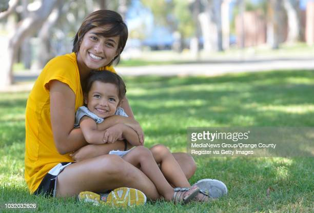 BEACH CALIF USA Long Beach State soccer star Nadia Link with her daughter Adrianna 2 1/2 on September 7 2011 Link leads the team in goals with six in...