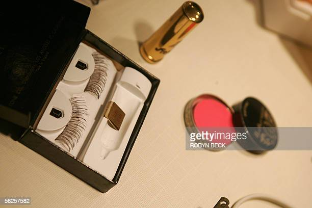 False eyelashes and makeup used by Marilyn Monroe are displayed at Marilyn Monroe The Exhibit 18 November 2005 on the Queen Mary in Long Beach...