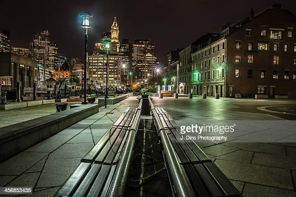A long bench on the Boston Long Wharf