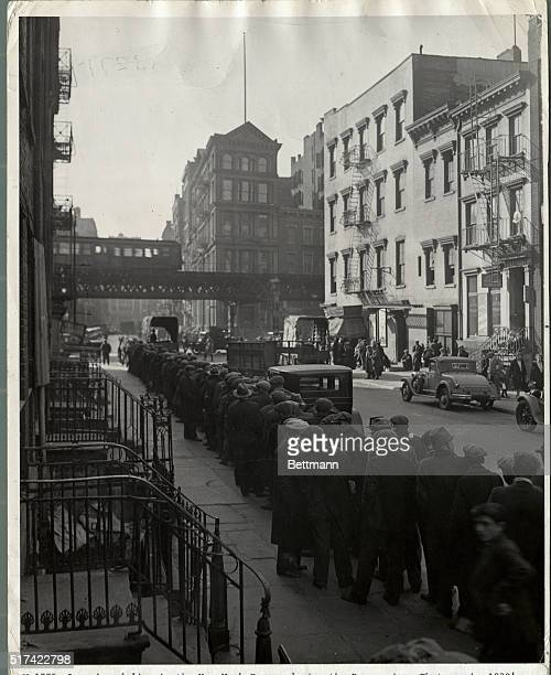 Long bread line in the New York Bowery during the Depression