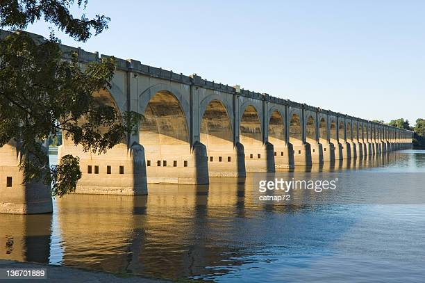 long bridge arches over river, harrisburg, pa, usa - harrisburg pennsylvania stock pictures, royalty-free photos & images