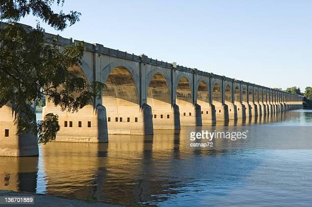 Long Bridge Arches Over River, Harrisburg, PA, USA