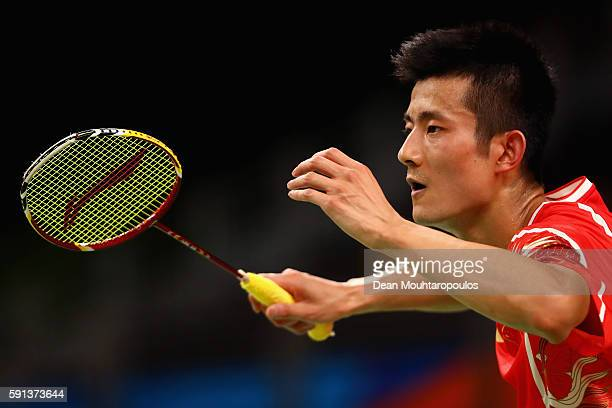 Long Chen of China celebrates after defeating Wan Ho Son of Korea during the Men's Singles Quarterfinal Badminton match on Day 12 of the Rio 2016...