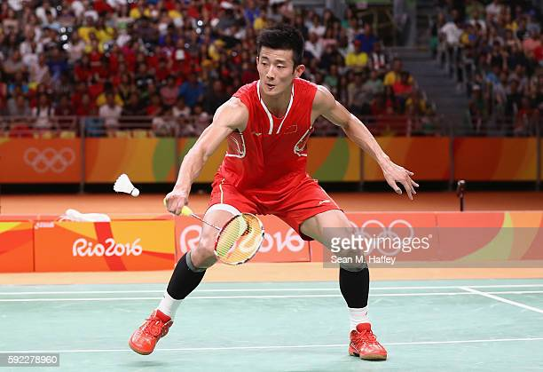 Long Chen of China competes against Chong Wei Lee of Malaysia during the Men's Singles Badminton Gold Medal match on Day 15 of the Rio 2016 Olympic...