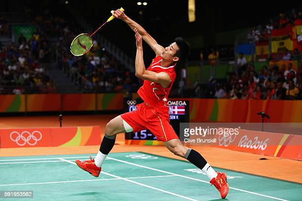 Long Chen of China competes against Viktor Axelsen of Denmark during the Men's Singles Badminton Semi-final on Day 14 of the Rio 2016 Olympic Games...