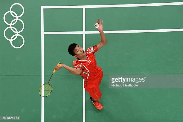 Long Chen of China competes against Wan Ho Son of Korea during the Men's Singles Quarterfinal Badminton match Day 12 of the Rio 2016 Olympic Games at...