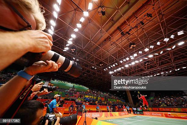 Long Chen of China competes against Wan Ho Son of Korea during the Men's Singles Quarterfinal Badminton match on Day 12 of the Rio 2016 Olympic Games...