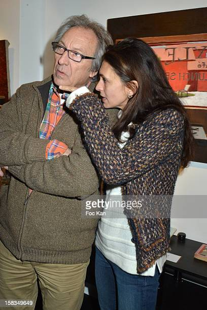 Long Chris and his daughter Adeline Blondieau attend the 'Amerique: Instantanes' - Laurent Hubert Painting Exhibition Preview at Galerie Myriane on...