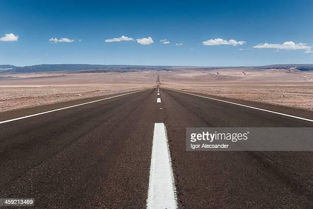 Long desert road in Atacama